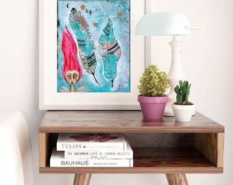 FREEDOM | Art Print | Wall Art | Matted Print | Whimsical Print | Fine Art Print | Inspiring Art | Home Decor | Boho Art | Fairy Art