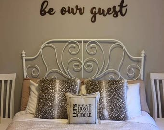 Be Our Guest, Guest Room, Wood, Sign, Wall Decor, Home Decor, Wooden, Unfinished, Laser, Cut Out, Spare Bedroom, Natural Baltic Birch