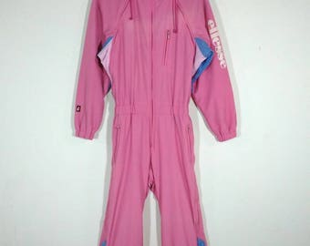 Rare!! Ellesse Italy Perugia One Piece Pink Ski Snow Board Suit Overalls Coveralls Snowsuit Jumpsuit Size S Jaspo