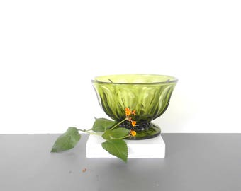 Vintage Green Glass Footed Bowl, Candy or nuts  dish,Patterned Pedestal Bowl,Decorative container,Green glass decor