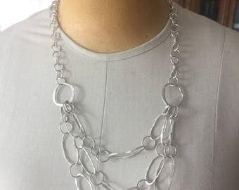 "Handcrafted Argentium silver chain necklace large link bib style jewelry 22.5"" long"