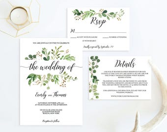 Botanical Wedding Invitation Kit Elegant Wedding Invitation Suite Template Watercolor Leaves Printable Outdoor Wedding Invites Editable PDF