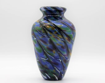 Hand Blown Glass Vase   Peacock Feather Inspired   Handblown Glass Vase    Blue Glass Vase