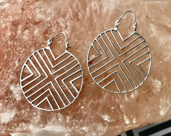 Geometric hoops, tribal earrings, brass earrings