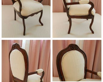 Wood upholstered armchair. Scale 1:3 for dolls up to 60 cm. valid for BJD and the like.