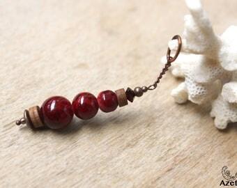 Rustic pendant • red • Howlite • wood • Swarovski Crystal copper jewelry Bohemian • creative • cherry • red •