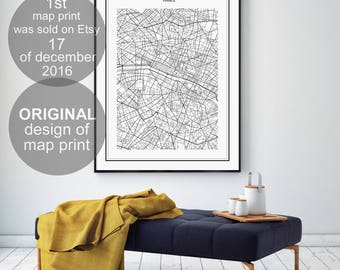 Paris Map Print, Paris Map, Paris Map Poster, Paris City, Paris Map Poster, France City, City Map, Black and White Map, France, France Print