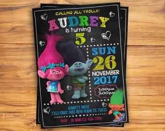 Trolls Birthday Invitation, Trolls invitation, Trolls Digital Invitation, Trolls Party, Trolls Girl Invitation, Trolls