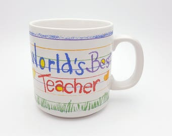 World's Best Teacher 90s Mug Papel Vintage Coffee Cup Retro Decor Break Time Tea Hot Beverages Korea Teaching Gift Back To School Gift