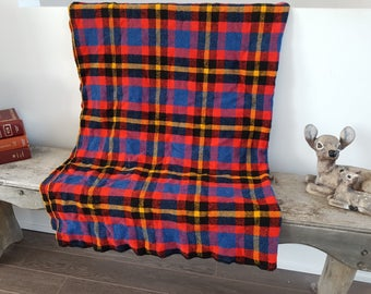 "Vintage Soft Plaid Blanket / 52"" x 56"" / Acrylic Cotton Blend / Rustic Cabin Decor Bedroom or Living Room / Throw Blanket Bedding"