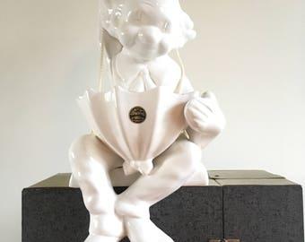Hanging/Sitting Vintage flowerpot clown, Delft White