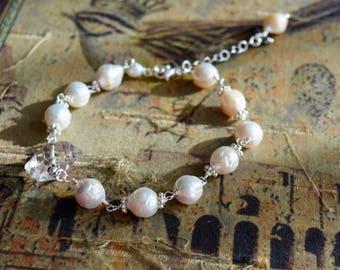 Herkimer Diamond Quartz and Pearl Bracelet~ Sterling Silver Wire Wrapping Bracelet~ Pearl Bracelets~ Herkimer Jewelry~