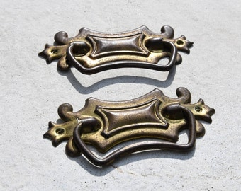 vintage cast brass drawer pull pair / antique matching pair of decorative drawer pulls