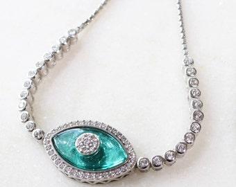 Silver & Teal Evil Eye Bracelet