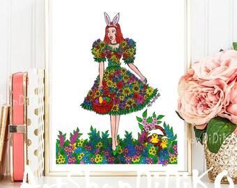 Easter Print, Happy Easter, Easter Girl Print, Digital Print, Easter Dgital Prints, Easter Decor, Spring Print, Easter Wall Art Print, Decor