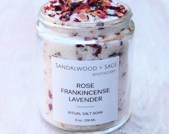Rose + Frankincense + Lavender Ritual Salt Soak // 8 oz. // Ritual Bath Soak // Biblical oil bath salts // Botanical bath salt