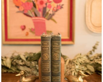 Brass Duck Bookends with Wood Base   Vintage Bookends   Nursery Bookends   Office Decor   Duck Theme Home