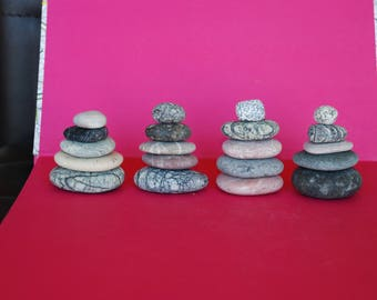 5 Sea Beach Stones - Zen Meditation Yoga Stones, Cairn Balancing Sculpture Mood Stones, Flat Beach Pebble Rock Art, Home Decor, Mindfulness