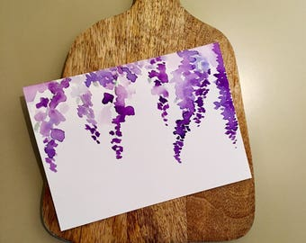 Wisteria Purple Flower Watercolor Card- Floral Greeting Card