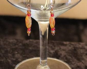 Very Pretty Dainty Orange and Red Dangle Earrings