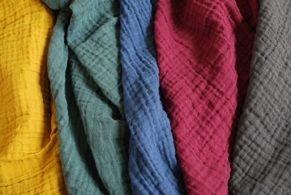 New Colors Double Gauze Fabric 100 Cotton Muslin Solid