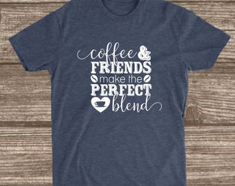 Coffee & Friends Heather Navy T-shirt - Coffee Shirts - Best Friend Gift