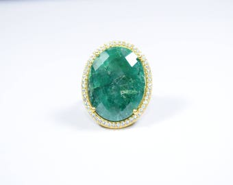 emerald ring,green color ring,emerald cz ring,pave ring,Christmas gift,adjustable ring,gemstone ring,natural stone ring,oval shape ring,