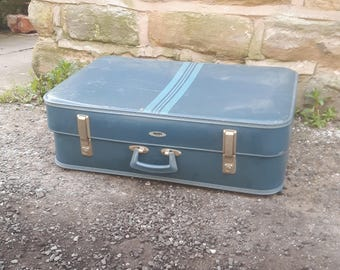 Vintage Retro Foxcroft Antler Blue Suitcase Case Luggage Trunk Storage Display