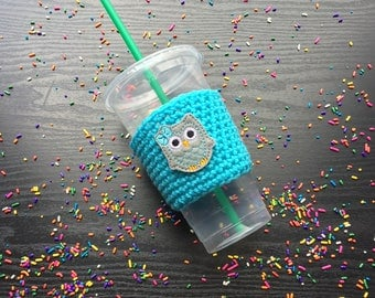 Owl - Crochet coffee cozy - Cup cozy - Mug cozy - Coffee holder -  Beer cozy - Drink cover - Coffee cup cozy - Reusable coffee sleeve