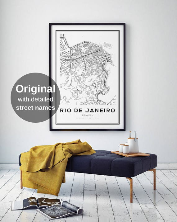 Rio De Janeiro City Map Brazil Print Art Poster Black And White Wall