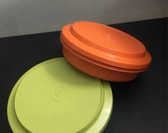 Tupperware, vintage Serve and Store plate, travel lunch plate, olive green tupperware, orange tupperware, camping plate, child's plate