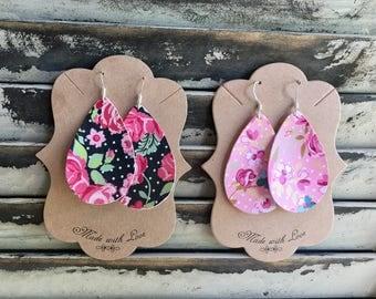 Floral Teardrop Leather Earrings - Handmade Earrings - Faux Leather Earrings - Lightweight Earrings