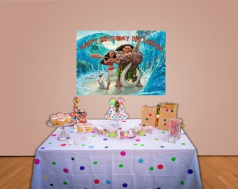 Moana Backdrop personalized 30 x 40 inch printable file