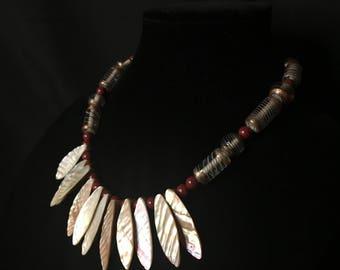 Iridescent beaded statement necklace