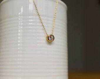 Round Cubic Zirconia Charm Necklace, Gold Minimalist Necklace, April Birthstone Necklace
