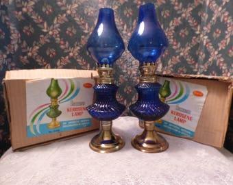 Set of Stellar Cobalt Blue Decorative Kerosene Lamps