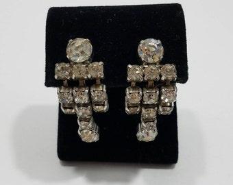 Beautiful Clear Rhinestone Dangle Screw Back Earrings