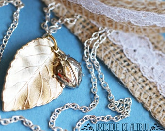 Necklace with leaf and ladybird Pendant