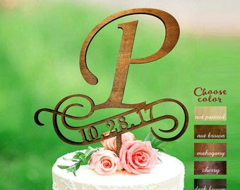 Letter p cake topper, cake toppers for wedding, letter wedding cake topper, initial cake topper, cake topper p, cake topper date, CT#278
