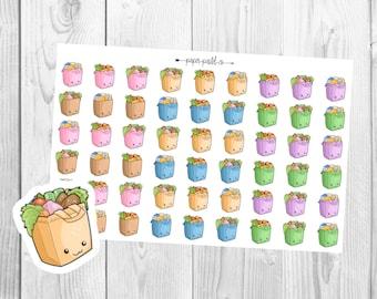 Kawaii Grocery Bag Planner Stickers