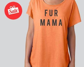 Fur Mama Slouchy Dolman Shirt. Off the Shoulder Shirt. Mom Shirt.
