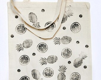 Tote bag lemon and pineapple (beige)