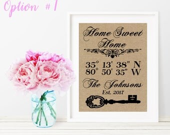 Home Sweet Home Sign / GPS Coordinates Sign / Real Estate Closing Gift / Housewarming Gift / New House Gift / Our First Home Sign / New Home