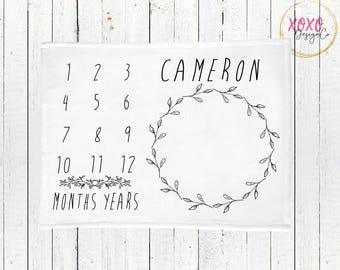 Monthly Milestone Baby Blanket / Receiving Blanket / Photo Prop Baby Blanket / Minimalist Baby Blanket / Baby Blanket Boy / Vintage Baby Boy