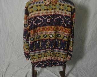 Vintage Mens Aztec Southwestern Tribal 100% Silk Shirt - Size Medium
