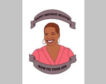 IYANLA - Funny Birthday Card, Birthday Card, Happy Birthday, Card for Friend, Card for Girlfriend