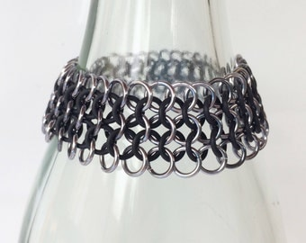 Chainmaille bracelet, large european 4-1 old silver with black rubber rings, black with silver bracelet, black bracelet, Tessa's chainmail