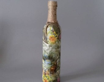 Country Mountain Scene Decorated Bottle