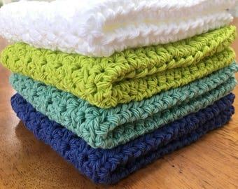 Cotton crochet washcloths, set of 4