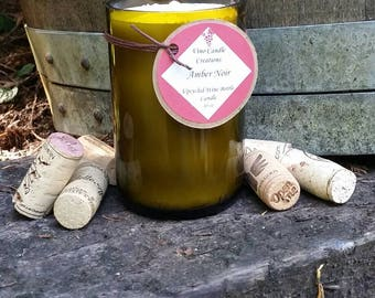 Amber Noir scented soy wine bottle candle
